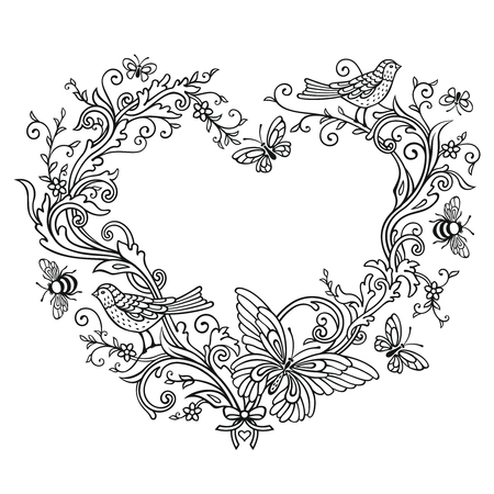 Ornate shape of Heart on white Reklamní fotografie - 76396288