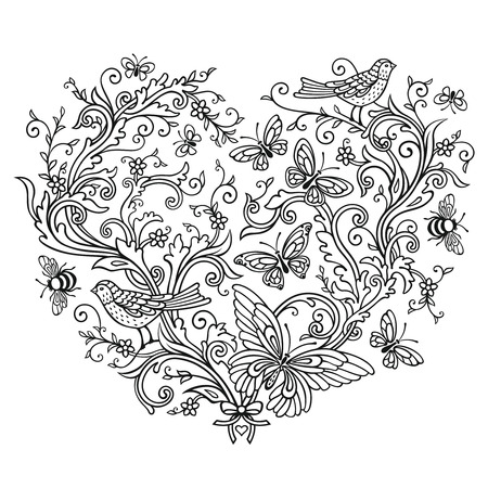Ornate shape of Heart on white background Reklamní fotografie - 76396290