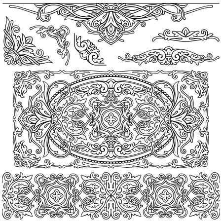 Ornate set elements in vintage style Reklamní fotografie - 76396298