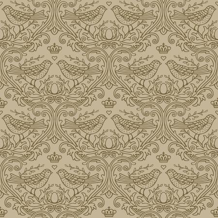 decoretive damask pattern background with birds Ilustrace
