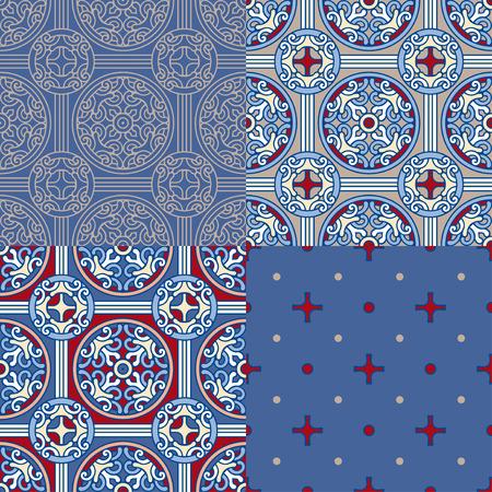 Set of 4 decorative backgrounds Ilustrace