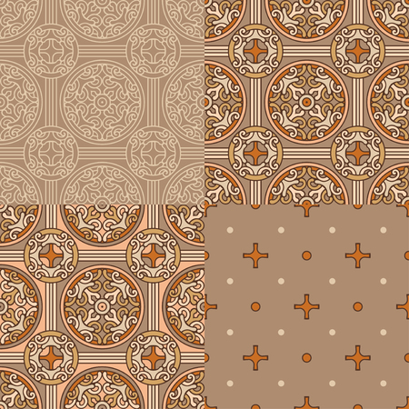 Set of 4 decorative backgrounds on brown