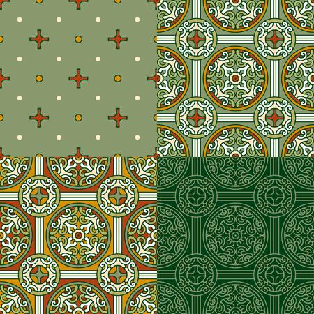 Set of 4 decorative backgrounds on green Reklamní fotografie - 76396729
