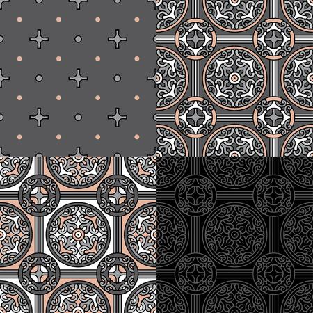 Set of 4 decorative backgrounds on gray Reklamní fotografie - 76396735