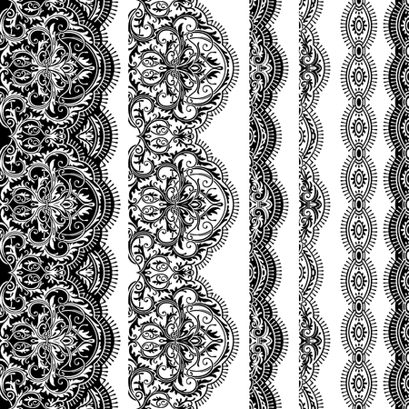 Set of seamless ribbons of lace