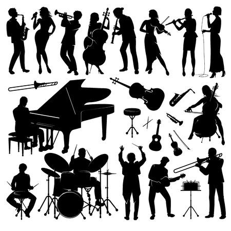 Set van muzikanten met hun instrumenten silhouetten