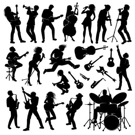 Set van muzikanten met hun instrumenten silhouetten Stock Illustratie