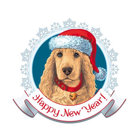 Label. Dog Ñ–n Santa hat Ilustrace