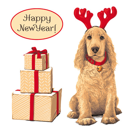 Dog sitting Ñ–n deer hat next to gift