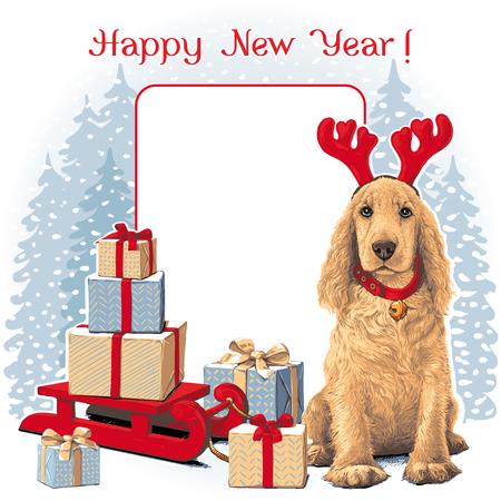 Perro sentado Ñ-n sombrero de venado junto a regalo