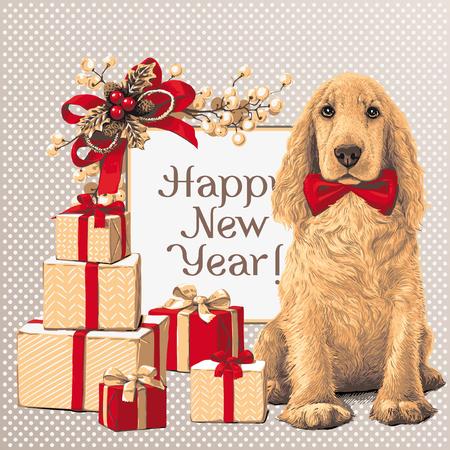 Dog sitting next to gift