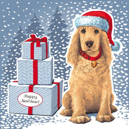 Dog sitting Ñ–n Santa hat next to gift Reklamní fotografie - 90175298