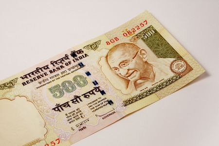 rupee: single 500 rupee indian currency note
