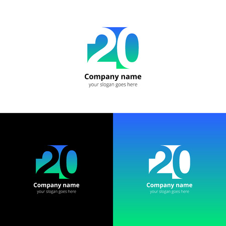 20 icon flat and design template. Monogram years numbers two and zero.