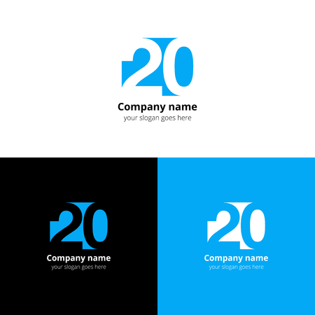 numbers icon: 20 icon flat and design template. Monogram numbers two and zero.
