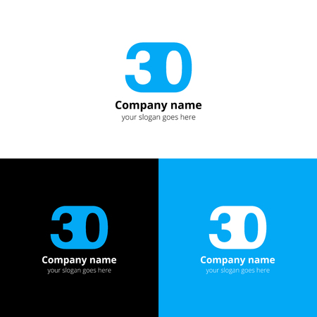 numbers icon: 30 icon flat and design template. Monogram years numbers three and zero.