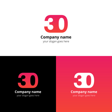 30 icon flat and design template. Monogram years numbers three and zero.