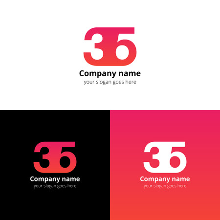 numbers icon: 35 icon flat and design template. Monogram years numbers three and five.