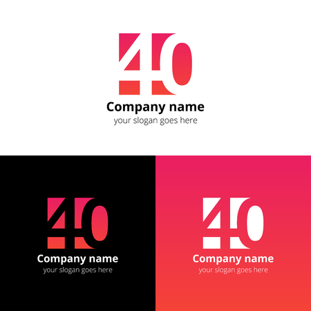 40: 40 icon flat and design template. Monogram years numbers four and zero. Illustration