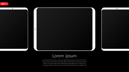 Phone, tablet computer, mobile, set mockup composition isolated on black background with blank screen. Front view realistic vector illustration white phones for printing and web element.