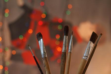 Paint, Oil Paint, Acrylic Painting, Palette, Paintbrush Stock Photo