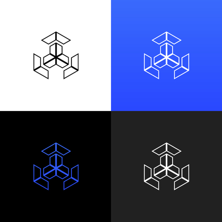 Logo linéaire du cube de chiffres pour les entreprises et les marques avec un dégradé de bleu. Banque d'images - 91729270