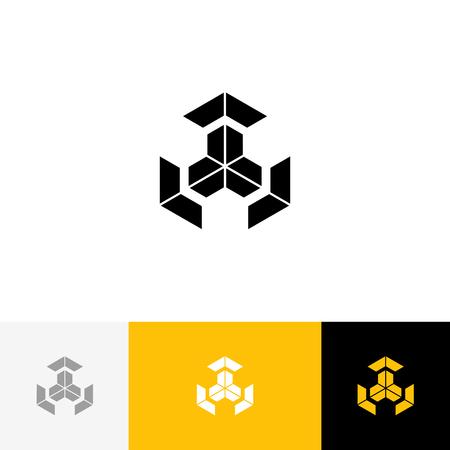 Logo vectoriel de cube. Logotype, icône, symbole, signe du cube de lettres. Logo plat design avec couleur jaune pour entreprise ou marque. Banque d'images - 91729272