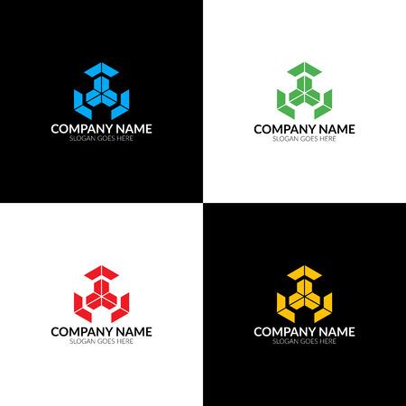 Logo de cube abstrait, icône plate et modèle de conception de vecteur. Le logo du cube pour la marque ou la société avec du texte. Banque d'images - 91729274
