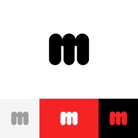 Vecteur M. Logo, icône, symbole, signe de lettres m. Logo plat design avec couleur rouge pour entreprise ou marque. Banque d'images - 91729275