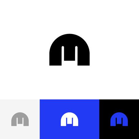 Modèle de conception plate icône M logo en gras. Logotype noir m avec texte. Logo de concept vision créative, éléments, signe, symbole de la carte, marque, bannières. Banque d'images - 91729278