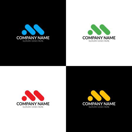 M vecteur. Logo de minimalisme, icône, symbole, signe des lettres m. Conception de logo plat avec plusieurs couleurs pour entreprise ou marque. Banque d'images - 91729279