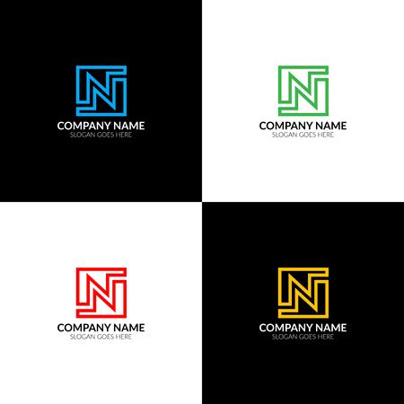 Illustration de vecteur lettre N, modèle de conception icône plat et vectoriel. La lettre n icône pour la marque ou une entreprise avec du texte. Banque d'images - 93812418