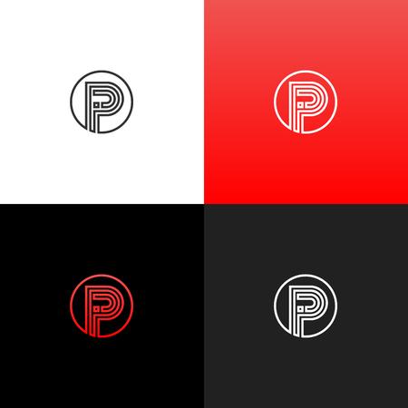 Lignes logo P en cercle. Logo linéaire de la lettre p pour les entreprises et les marques avec un dégradé rouge. Ensemble de conception monogramme minimaliste. Banque d'images - 93812746