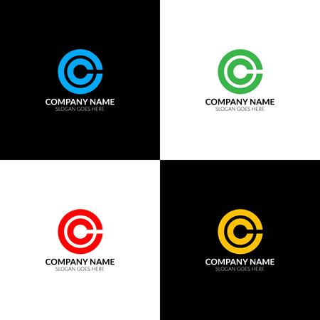 Illustration vectorielle Lettre c en logo de cercle, modèle de conception icône plat et vecteur. Le logotype de la lettre c pour une marque ou une entreprise avec texte. Banque d'images - 93813518