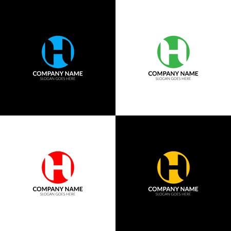 Illustration vectorielle Lettre H dans le modèle de logo, icône et vecteur de conception de cercle. La lettre h en inversion avec le logotype de cercle pour une marque ou une entreprise avec du texte. Banque d'images - 93812094