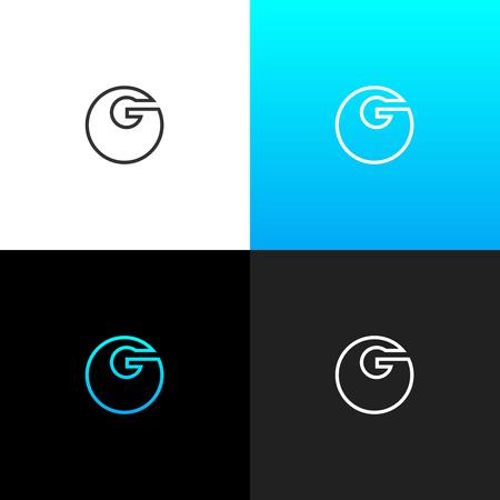 Logo G. Linear logo en gras de la lettre g pour les entreprises et les marques avec un dégradé bleu. Ensemble de conception monogramme minimaliste. Banque d'images - 93812742