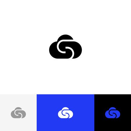 Nuage, vecteur, lettre s Logo de minimalisme, icône, symbole, nuage de signe avec la lettre s. Logo plat design avec couleur bleue pour entreprise ou marque. Banque d'images - 93813688