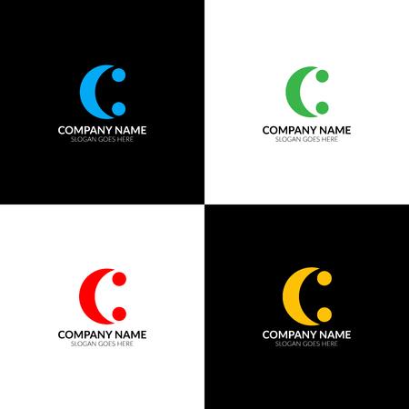 Illustration vectorielle Lettre C deux points logo, icône plate et modèle de conception vectorielle. Le logotype de la lettre c pour une marque ou une entreprise avec texte. Banque d'images - 93811785
