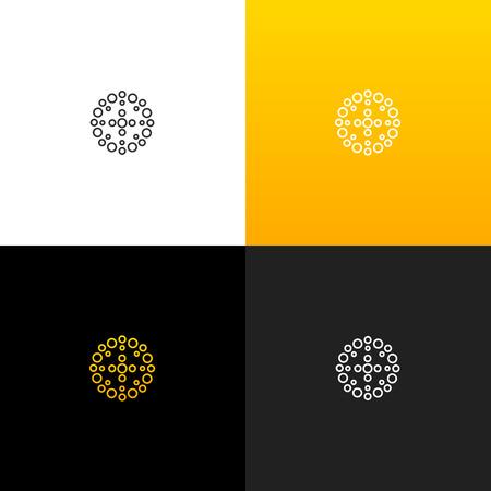 Cercle abstrait avec logo de points. Logo linéaire pour les entreprises et les marques avec un dégradé jaune. Ensemble de conception monogramme minimaliste. Banque d'images - 93813689