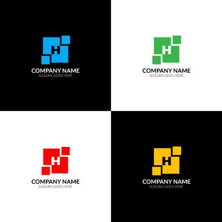 Illustration vectorielle Lettre H en logo carré géométrique abstrait, icône plat et modèle de conception de vecteur. La lettre h en logotype carré pour une marque ou une entreprise avec texte. Banque d'images - 93815168