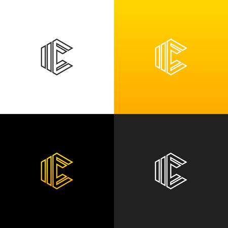C géométrique dans le logo de losange. Logo linéaire de la lettre c pour les entreprises et les marques avec un dégradé jaune. Ensemble de conception monogramme minimaliste. Banque d'images - 93813693