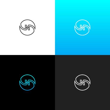 Logo n dans le cercle de ligne . logo linéaire de la lettre n que les entreprises et les marques avec un ensemble de noir bleu . conception de monogramme de monogramme . Banque d'images - 93812745
