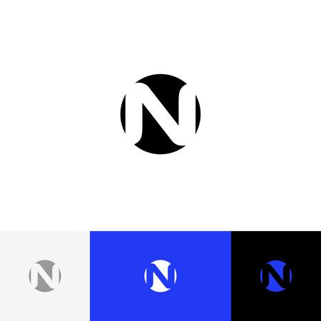 N en vecteur de cercle. Logo de minimalisme, icône, symbole, signe de lettres n. Logo plat design avec couleur bleue pour entreprise ou marque. Banque d'images - 93813692