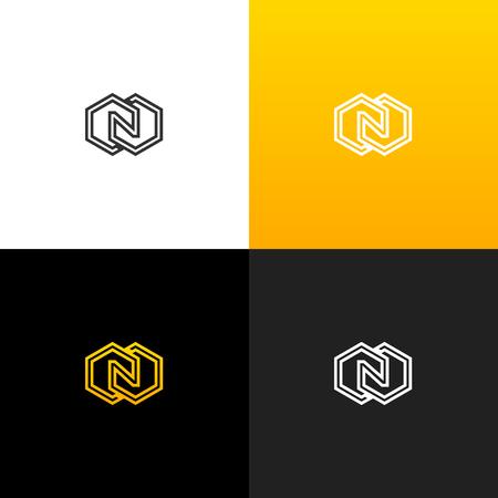 Logo N avec losange. Logo linéaire de la lettre n pour les entreprises et les marques avec un dégradé jaune. Banque d'images - 93814237