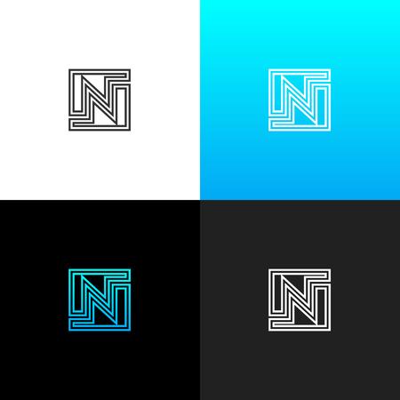 Logo N. Logo linéaire de la lettre n pour les entreprises et les marques avec un dégradé bleu. Ensemble de conception monogramme minimaliste. Banque d'images - 93813417