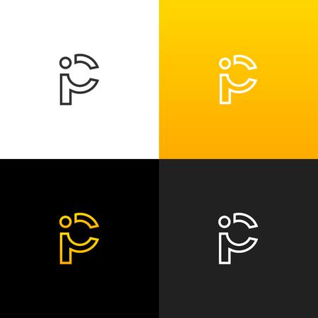 Logo P et I. Logo linéaire de la lettre i et p pour les entreprises et les marques avec un dégradé jaune. Ensemble de conception monogramme minimaliste. Banque d'images - 93812743