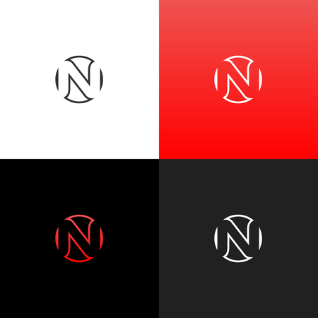 Logo n in circle. Linear logo of the letter n for companies and brands with a red gradient. Set of minimalistic monogram design.
