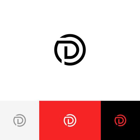 D en vecteur de cercle. Logo du minimalisme, icône, symbole, signe des lettres d. Banque d'images - 93814236