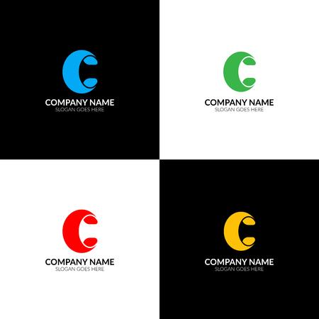 Illustration vectorielle Lettre c logo, icône plate et modèle de conception Le logo en gras lettre c pour une marque ou une entreprise avec texte. Banque d'images - 93813418