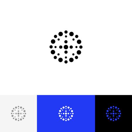 Cercle abstrait avec vecteur de points. Logo de minimalisme, icône, symbole, signe de. Logo plat design avec couleur bleue pour entreprise ou marque. Banque d'images - 93812092